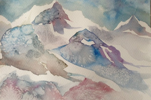Snow Caps original watercolour
