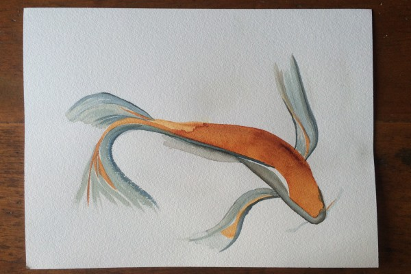 Golden Koi watercolour